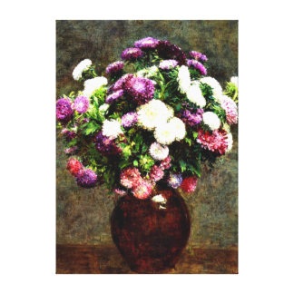 Asters in a Vase - Henri Fantin-Latour painting Canvas Print