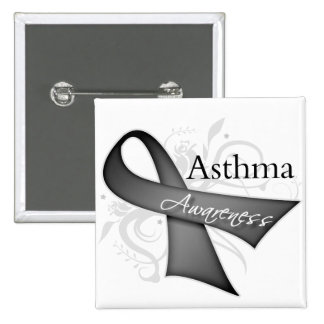Asthma Awareness Ribbon 2 Inch Square Button