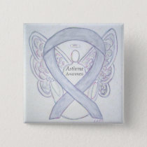 Asthma Awareness Ribbon Angel Custom Button Pins