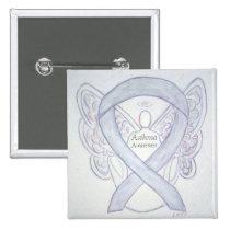 Asthma Awareness Ribbon Angel Custom Button Pins