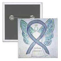 Asthma Awareness Ribbon Angel Customized Art Pin