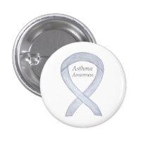 Asthma Awareness Ribbon Custom Art Pin Buttons