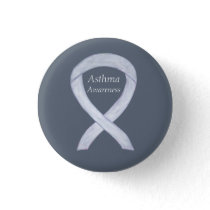 Asthma Awareness Ribbon Custom Art Pin Buttons