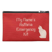 Asthma Emergency Kit with Cat Travel Accessory Bag