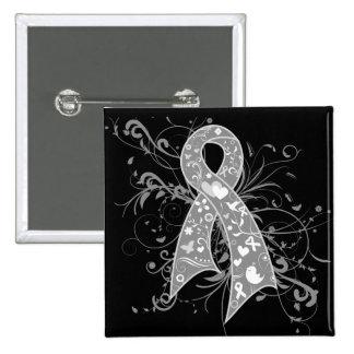 Asthma Floral Swirls Ribbon Pinback Button