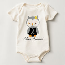 Asthma Grey Ribbon Support Owl Baby Bodysuit