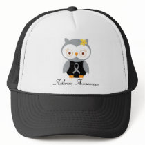 Asthma Grey Ribbon Support Owl Trucker Hat