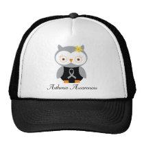 Asthma Grey Ribbon Support Owl Trucker Hat