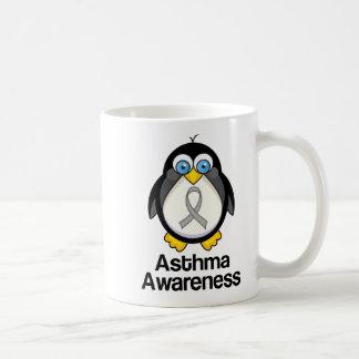 Asthma Grey Ribbon Support Penguin Mugs