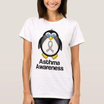 Asthma Grey Ribbon Support Penguin T-Shirt