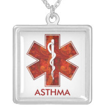 Asthma Medical Alert  Necklace: Customizable Silver Plated Necklace