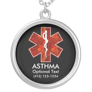 Asthma Medical   Necklace: Customizable Round Pendant Necklace