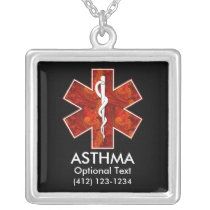 Asthma Medical   Necklace: Customizable Silver Plated Necklace