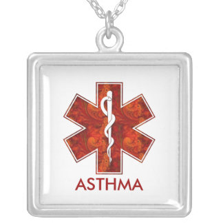 Asthma Medical   Necklace: Customizable Square Pendant Necklace