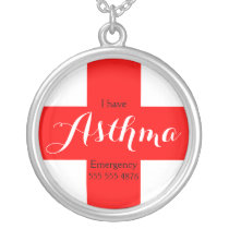 Asthma Red Cross Medical ID Necklace