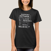 Asthma Research Grey Ribbon Awareness T-Shirt