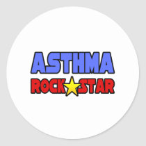 Asthma Rock Star Classic Round Sticker