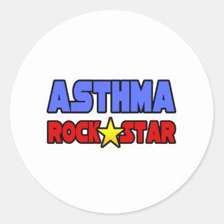 Asthma Rock Star Round Sticker