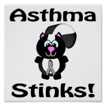 Asthma Stinks Skunk Awareness Design Poster