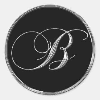 Astilla de la letra B del monograma en el sello Pegatina Redonda