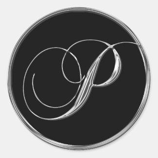 Astilla de la letra P del monograma en el sello Pegatina Redonda
