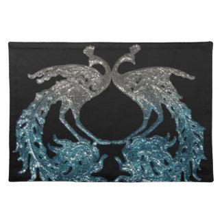 Astilla del brillo y pavo real azul mantel