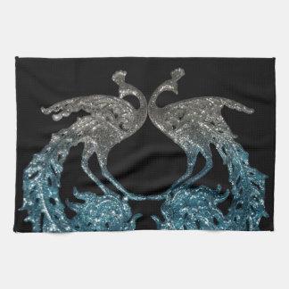 Astilla del brillo y pavo real azul toalla de cocina