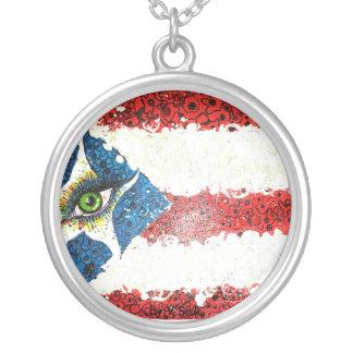 Astilla puertorriqueña de Sterling de la bandera Collar Plateado