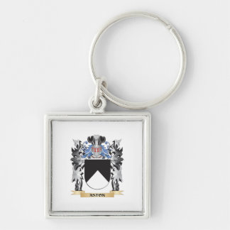 Aston Coat of Arms - Family Crest Silver-Colored Square Keychain