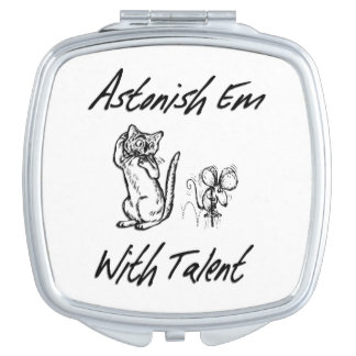 Astonish Em with Talent Confused Cat Vanity Mirrors