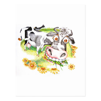 Astonished cartoon cow grazing on flowers postcard