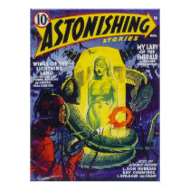ASTONISHING STORIES Vintage Pulp Magazine Cover Poster