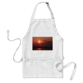 Astonishing Sun Setting behind some clouds Adult Apron