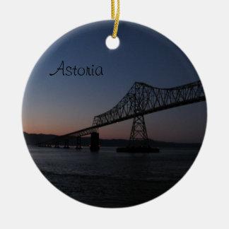 Astoria-Megler Bridge, Oregon Double-Sided Ceramic Round Christmas Ornament