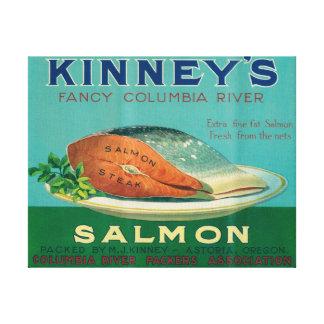 Astoria, Oregon - etiqueta del caso de los salmone Lona Envuelta Para Galerías