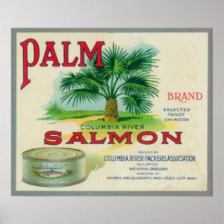 Astoria, Oregon - etiqueta del caso de los salmone Posters