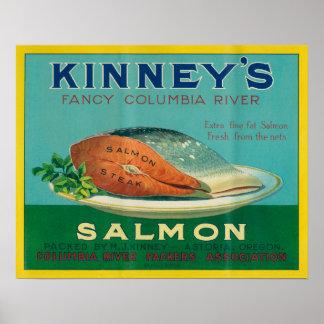 Astoria, Oregon - etiqueta del caso de los salmone Póster