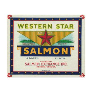 Astoria, Oregon - etiqueta occidental del caso de  Lona Estirada Galerias