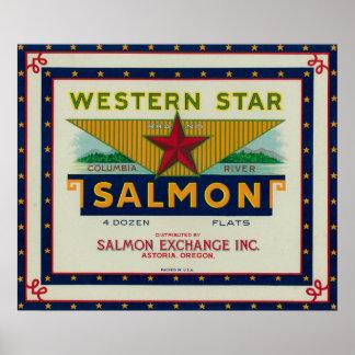Astoria, Oregon - etiqueta occidental del caso de  Poster