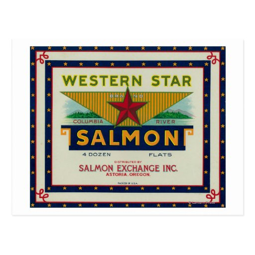 Astoria, Oregon - etiqueta occidental del caso de Tarjeta Postal