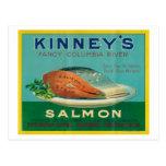 Astoria, Oregon - Kinney's Salmon Case Label Postcard