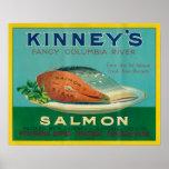 Astoria, Oregon - Kinney's Salmon Case Label Poster