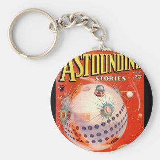 Astounding Stories - Aug 1935a_Pulp Art Basic Round Button Keychain