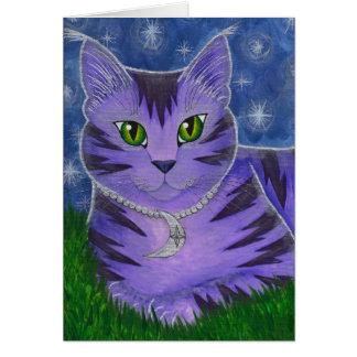 Astra Celestial Moon Stars Cat Fantasy Art Card