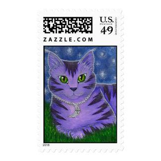 Astra Celestial Moon Stars Cat Fantasy Art Postage