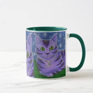 Astra Celestial Moon Stars Purple Cat Fantasy Mug
