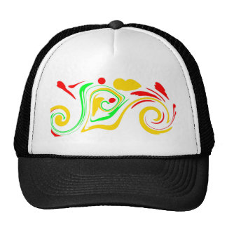 Astract swirling design, red yellow and green trucker hat