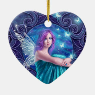 Astraea Fairy & Butterflies Ceramic Heart Ornament