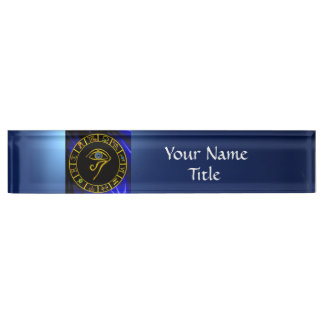 ASTRAL EYE / BLUE TALISMAN AND ZODIAC SIGNS DESK NAMEPLATE