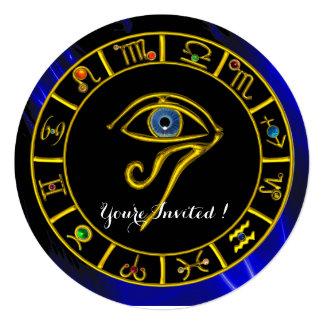 ASTRAL EYE / BLUE TALISMAN ,gold metallic Invitation